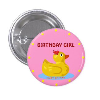"""Chica Ducky de goma del cumpleaños "" Pin Redondo 2,5 Cm"