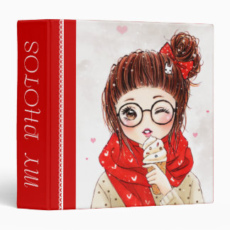 Chica dulce en la bufanda roja - carpetas de la