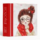Chica dulce en la bufanda roja - carpetas de la fo