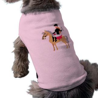 Chica ecuestre rosado camisa de mascota