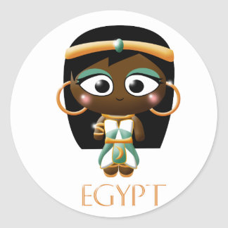 Chica egipcio antiguo pegatina redonda