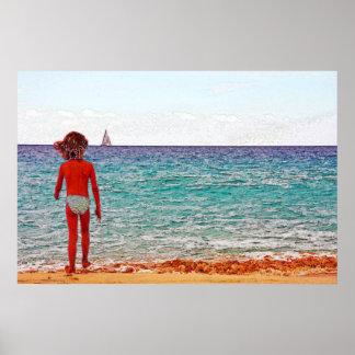 Chica el día de fiesta de la playa poster