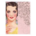 chica elegante de París de la moda del rosa del vi Tarjetas Postales