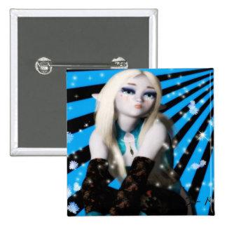 Chica Elfin de Frost del animado Pin Cuadrado
