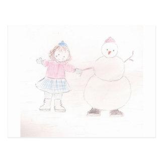 Chica emocionado con el muñeco de nieve postal