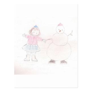 Chica emocionado con el muñeco de nieve postales