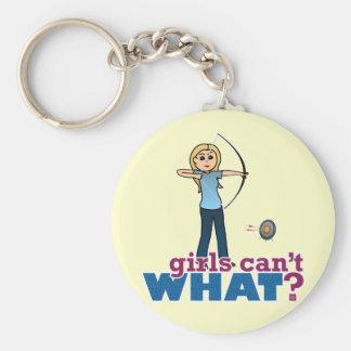 Chica en azul - Blonde del tiro al arco Llaveros Personalizados