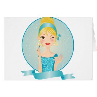 Chica en azul tarjeta de felicitación