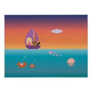 Chica en barco con el poster lindo de los niños de