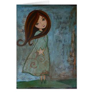 Chica en blanco del arte popular de Notecard