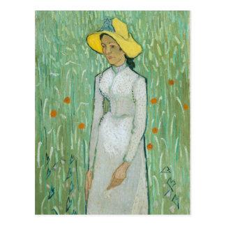 Chica en blanco por la postal de Vincent van Gogh