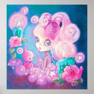 Chica en Bubblebath con las velas y los rosas Impresiones