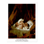 Chica en cama con un perro de Jean-Honore Fragonar Postales