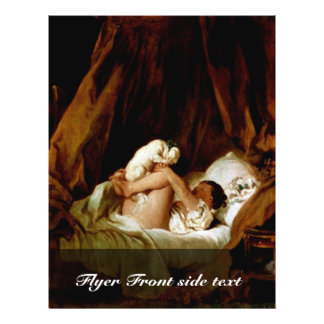 "Chica en cama con un perro que juega por Fragonard Folleto 8.5"" X 11"""