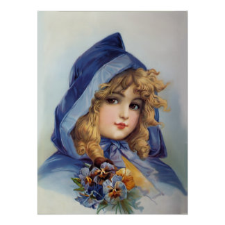 Chica en capilla azul poster