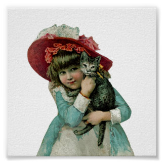 Chica en capo con el gatito del navidad póster