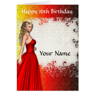 Chica en cumpleaños rojo de dress16th tarjeta pequeña