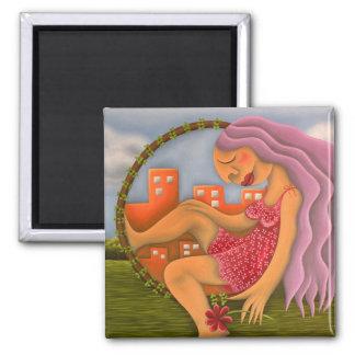 Chica en dos paisajes pintura óleo arte 2 inch square magnet