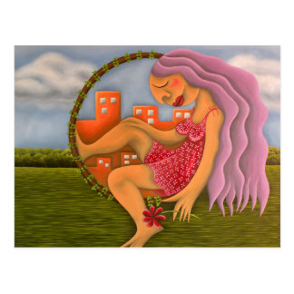 Chica en dos paisajes pintura óleo arte postal