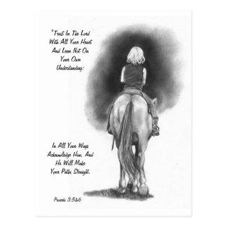 Chica en el caballo, arte del lápiz: Verso de la Postal