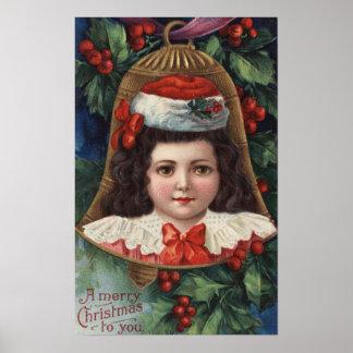 Chica en el gorra de Santa en Bell Póster
