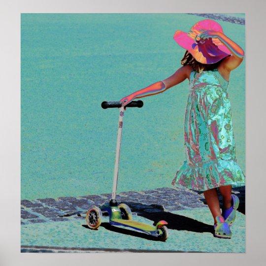 Chica en el gorra rosado póster
