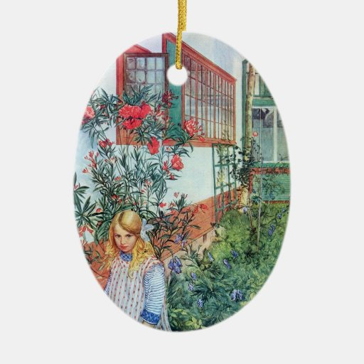 Chica en el jardín con las flores rojas adorno navideño ovalado de cerámica