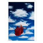 Chica en el oscilación en nubes tarjeta postal
