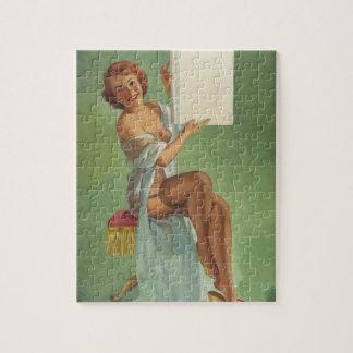 Chica en el Pin leído encima del arte Puzzle Con Fotos