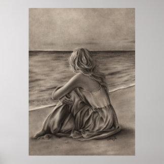 Chica en el poster de la playa