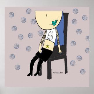 Chica en el poster de la silla