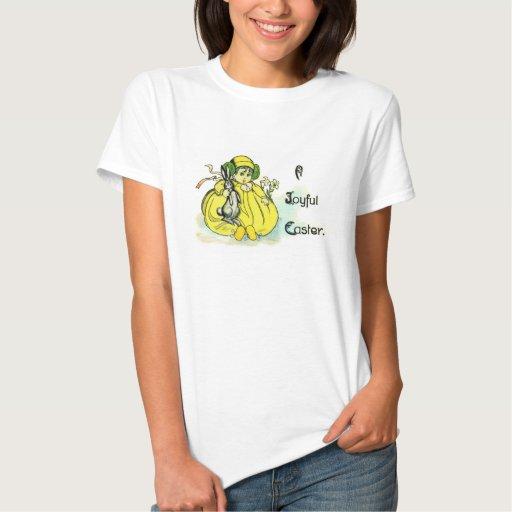 Chica en el vintage amarillo Pascua del conejito Playera