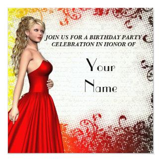 Chica en fiesta de cumpleaños roja del vestido comunicado personal
