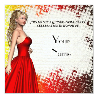 Chica en fiesta rojo del quinceanera del vestido invitacion personalizada