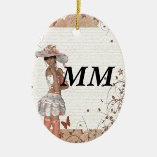 Chica en gorra del verano adorno ovalado de cerámica
