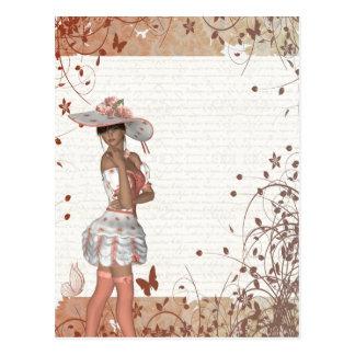 Chica en gorra del verano postal