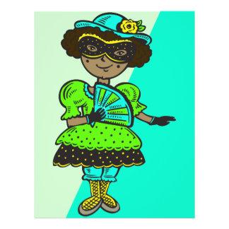 "Chica en la bola de mascarada folleto 8.5"" x 11"""
