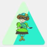 Chica en la bola de mascarada calcomania triangulo personalizadas