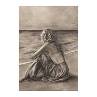 Chica en la impresión de la lona de la playa lienzo envuelto para galerías