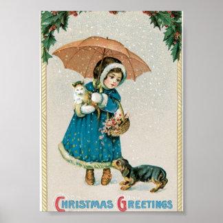 Chica en la nieve en navidad con el gato y el perr póster