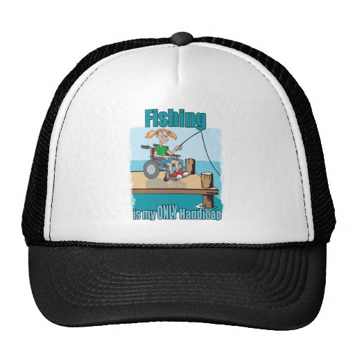 Chica en la pesca de la silla de ruedas gorras de camionero