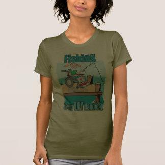Chica en la pesca de la silla de ruedas camiseta