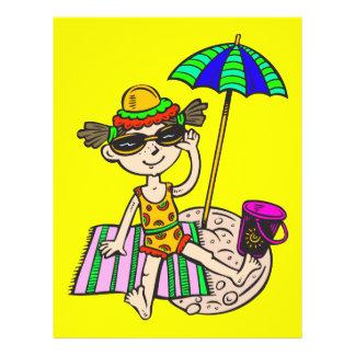 """Chica en la playa folleto 8.5"""" x 11"""""""
