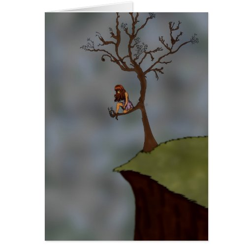 Chica en la tarjeta del árbol