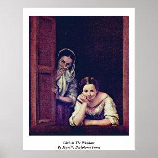 Chica en la ventana de Murillo Bartolome Pérez Posters