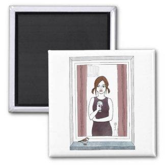 chica en la ventana iman de frigorífico