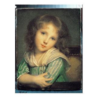 Chica en la ventana tarjeta postal