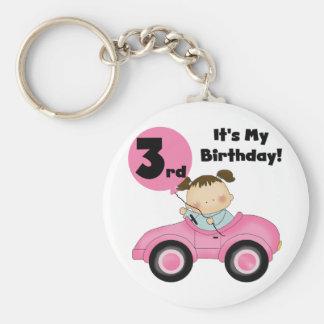 Chica en las 3ro camisetas y regalos del cumpleaño llavero redondo tipo pin