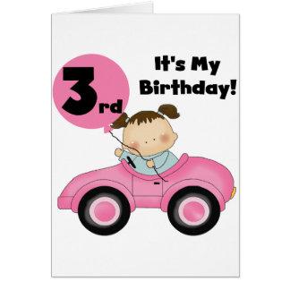 Chica en las 3ro camisetas y regalos del cumpleaño tarjeta de felicitación