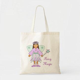 Chica en lila y traje de hadas verde bolsa tela barata